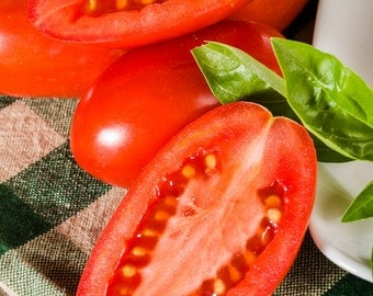Paste tomatoes with basil art for kitchen.  Food wall art or kitchen wall art from photography Fine art print for kitchen decor or wall art.