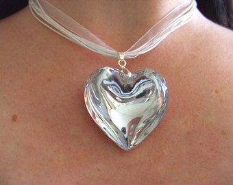 Big Love heart pendant necklace, glass, heart, choose colour, silver white, champagne, by NewellsJewels
