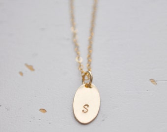 Gold Oval Initial Necklace - gold filled disc handmade personalized charm hand stamped pendant gift simple jewelry for her ON SALE