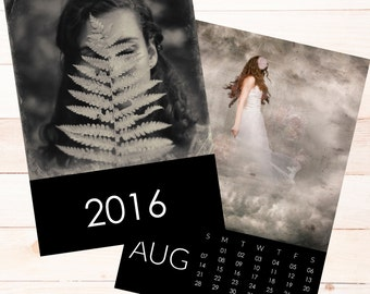 4x6 2016 calendar PSD template -  Black