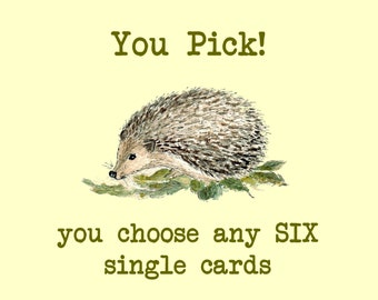 Any 6 Handmade Greeting Cards, Mix Any Six, You Choose, Your Choice, BOGO Pricing, Buy One Get One
