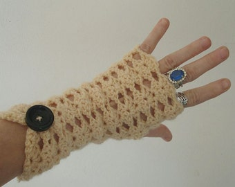 fingerless mittens romantic open shell in wheat or black