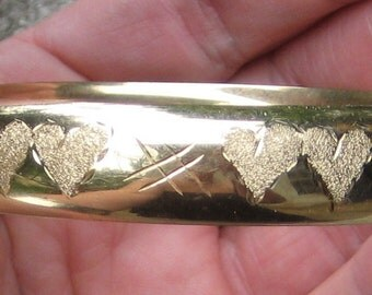 Fabulous Estate Say You Love Her With This 14K Double Heart Bangle Bracelet