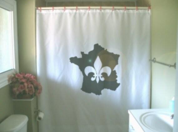 France fleur de lis shower curtain french lily heraldry symbol map