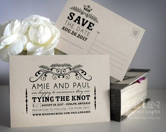Save the Date Postcard on kraft paper: Open Me Softly / Set of 50 /earth-friendly, vintage, back to nature, lovely swirl, great typography