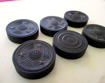 6 Antique Wooden Checkers - Stars and Stripes, black, game, Halsam