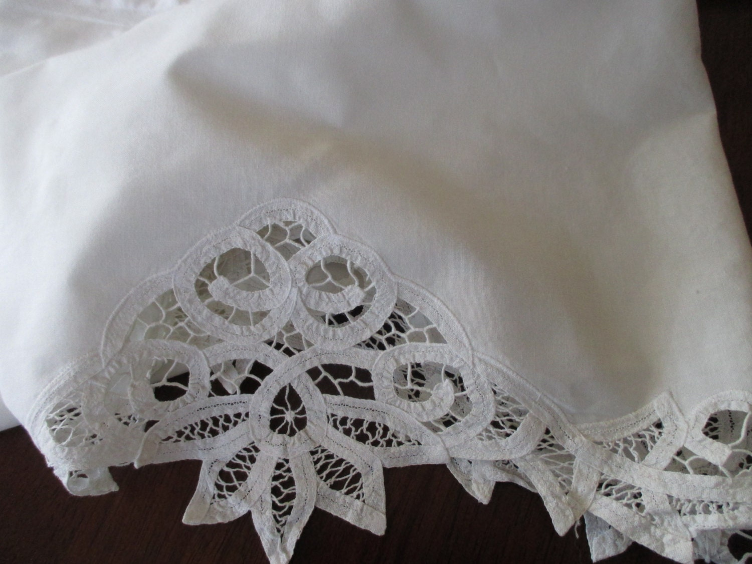 Shabby Chic White Cotton valance lace battenburg by JunqueDuJour