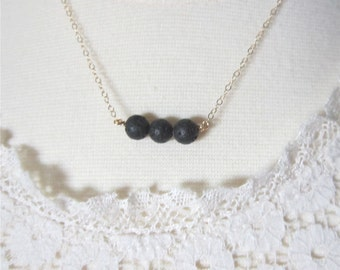 Lava rock necklace, essential oil necklace, delicate modern jewelry