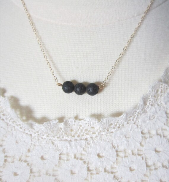 Lava Rock Trio Necklace in black