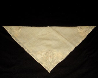 Lovely Vintage Ecru Handkerchief Cutwork and Appliques with Delicate Barely There Pink Roses