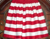 Special Order for NANCY - QUEEN Size Red and White Striped Skirt with pockets, longer length, pleated. Free Ship