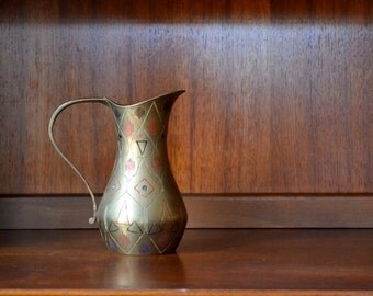 vintage mid-century etched india brass geometric pitcher