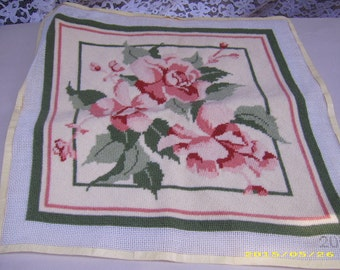 Vintage Pink Green Floral Roses Leaves Square Needlepoint Chair Pillow PIece