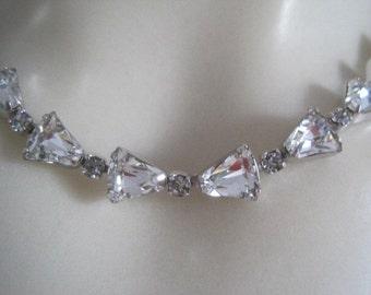 Vintage WEISS Rare Shaped Rhinestone Necklace Bride Bridal Wedding