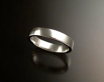14k White Gold 2x4 mm rectangular comfort fit bright finish Wedding band Handmade ring