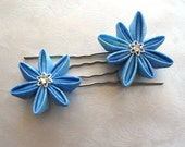Stars of Morning Blue Kanzashi Star Flower Hair Pins
