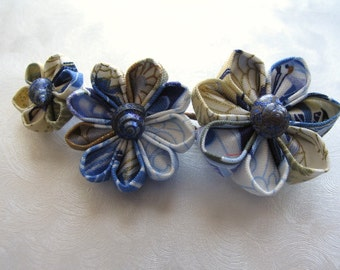 Clouds Over the Ocean Kanzashi Flower Seashell Bobby Pins