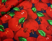 Packed Red Apples OOP Cotton Fabric - Retro Country Red & Grass Green on Navy Blue Orchard Fruit