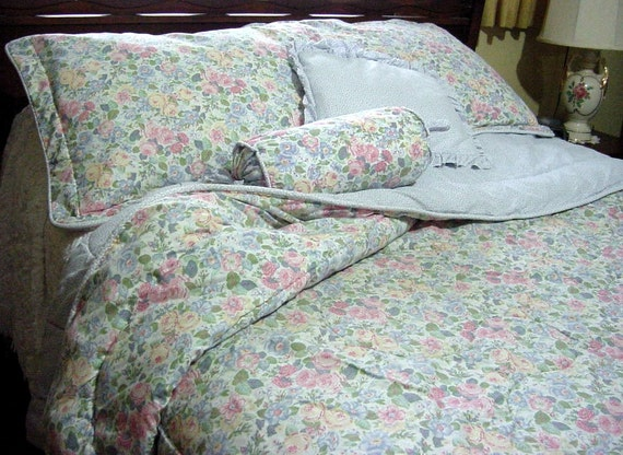 Vintage Laura Ashley Quartet Queen Comforter Quilt English