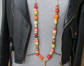 Vintage Mult-Colored Wood Trade Bead Necklace with Golden Spikes - 52 inches long