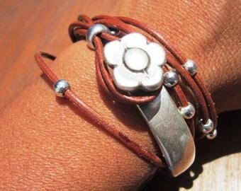 camel leather bracelet, flower bracelet, wrap bracelet, half bracelet, cool teens jewelry, womens bracelet, girls bracelet, leather bracelet
