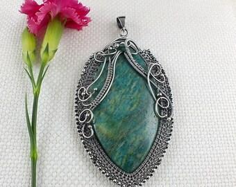 Statement amazonite necklace , wire wrap jewelry , gemstone wirework jewelry , sterling silver necklace ,bold fine jewelry