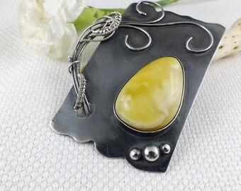 Metalwork brooch , amber wire wrap brooch , metalwork pendant , silver metalwork jewelry , sterling brooch , wirework fine jewelry