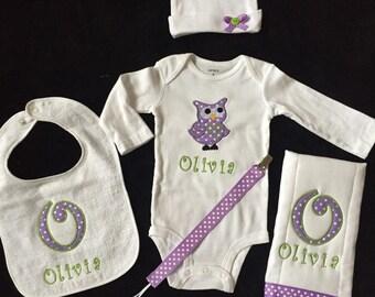 Baby girl personalized gift set 5 piece- purple and white polka dot owl-1bodysuit-1hat- 1 burp cloth- 1 bib-1 pasi clip