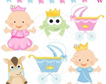 Fairy Tale Baby Cute Digital Clipart, Princess Clipart, Prince Clipart, Princess Clip Art, Fairy Tale Graphics, baby princess, baby prince