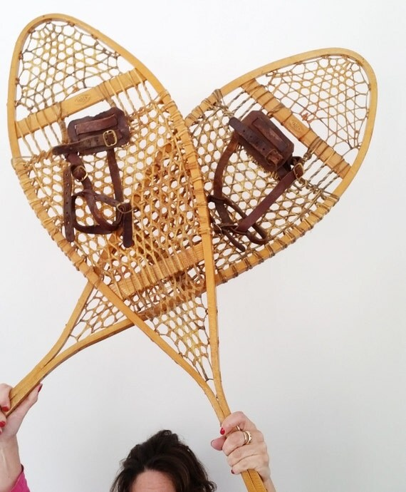 Vintage Faber Snow Shoes Made In Canada Rustic Cabin Wall
