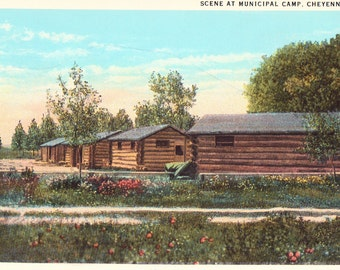 Cheyenne, Wyoming Municipal Camp Vintage Postcard, Unused