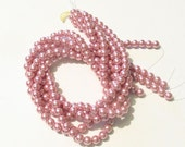 8mm Rose Glass Pearls