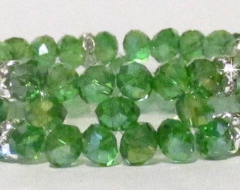 "7 1/2"" Green AB Crystal Stretch Bracelet #17821"