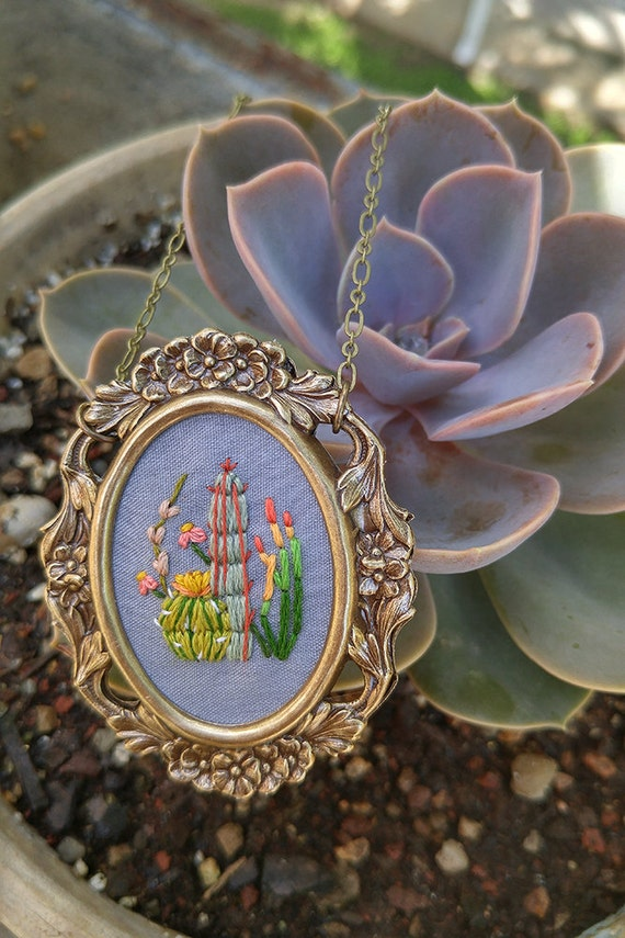 Cactus Study No. 3- hand embroidered necklace, desert, succulent, cacti