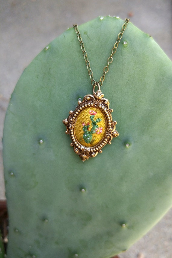 Lil Prickly Pear Cactus- hand embroidered necklace, desert, succulent, cacti
