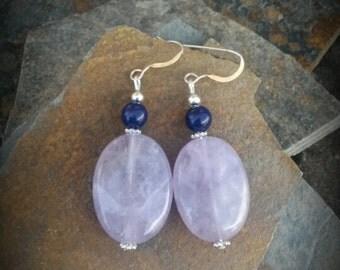 Amethyst Sterling Silver Earrings, Amethyst Purple Silver Dangle Earrings, Light Purple Silver Earrings