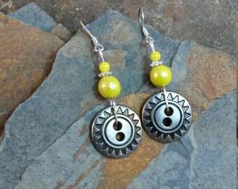 Yellow Silver Button Sterling Silver Earrings, Button Earrings, Silver Yellow Button Sterling Silver Earrings