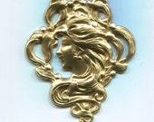 Art Nouveau Mucha Head Medallian Brass Metal Stamping