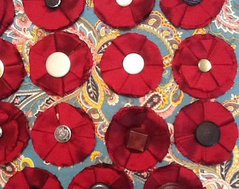 handmade Burgundy Silk Fabric Flowers with Vintage Button Centers
