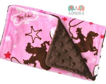 Burp Cloth Cowgirl Double Minky Burp Cloth - Pink & Brown - Girls - Baby Shower - Gift - Feeding - Nursing - New Mom - Essentials
