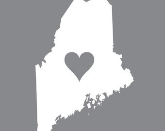I left my heart in Maine vinyl decal for car, laptop or window
