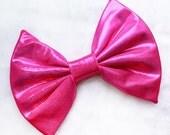 HUGE Metallic Pink Hair Bow