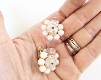 Pearls clip on clusters earrings vintage pearls clusters light pink  retro jewelry JAPAN signed