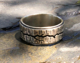 Men's sterling silver ring, men's forged sterling silver ring, hand forged sterling silver ring