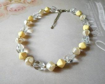 Creamy White Pearl Necklace Vintage Glass Choker Necklace White Necklace Vintage Necklace Bridal Wedding Bridesmaid Eco Friendly Retro Gift