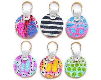 Mint Leather Key Chain, Art Key Fob, Modern Key Holder, Blue and Orchid Fuchsia Geometric Painted Custom Key Chain, Leather Accessories