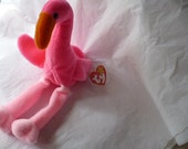 50 Percent off, Was 7 Dollars, Pink Flamingo, Bird Plushie, Ty Beanie Baby, Bird Gift, Pink Bird, Florida Gift, Vintage Toy, Stuffed Animal