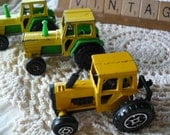 50 Percent Off, Was 15 Dollars, Vintage Farm Tractor, Metal Diecast Toys, Made in France - Yellow and Green Toy Tractor Set