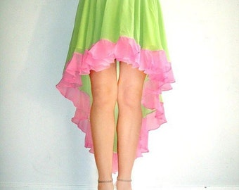 Ameynra Fashion Skirt High Low GREEN PINK CHIFFON, with ruffle and underskirt, Size S New