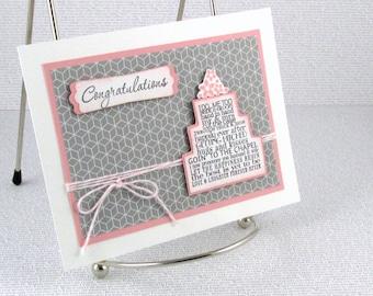 Engagement Card Handmade Congratulations on Your Engagement Wedding Cake Engaged Couple